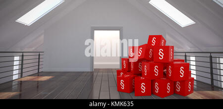 Vector icon of section symbol against white room with skylights Vector icon of section symbol on blocks - Stock Photo