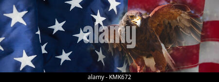 Close up of golden eagle against flag with stripes and stars - Stock Photo
