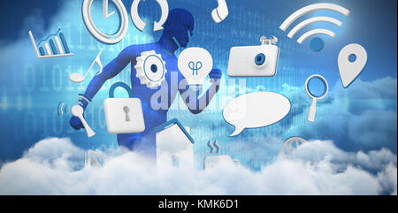 Various internet icons against composite image of blue character running - Stock Photo