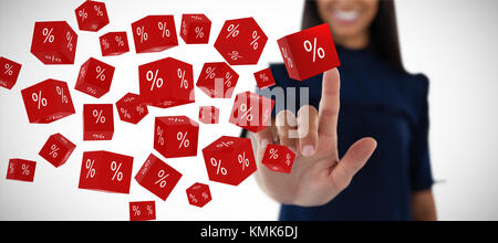 Female executive pressing an invisible virtual screen against vector sign of percentage - Stock Photo
