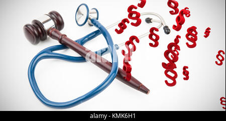 Vector icon of section symbol against blue stethoscope with gavel