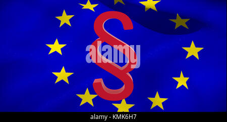 Vector icon of section symbol against european flag - Stock Photo