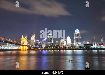 Skyline of Cincinnati, Ohio and the John A Roebling Suspension Bridge from George Rogers Clark Park in Covington, - Stock Photo