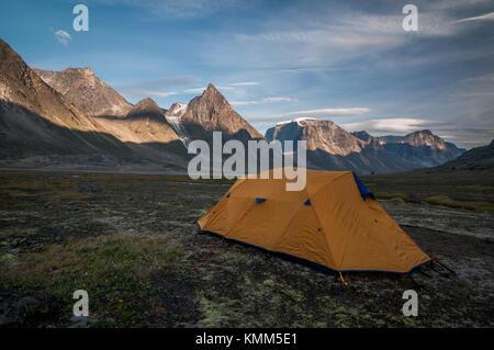 Camp 1 Mt Thor in Baffin Island Nunavut, Canada - Stock Photo