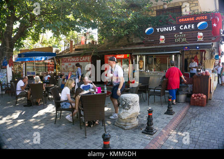 Bazaar, Coffee shops and souvenir shops at the old town of Side, turkish riviera, Turkey - Stock Photo