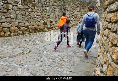 Street scene, Santillana del Mar, Cantabria, Spain - Stock Photo