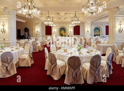 Dining room for banquet, Hotel Londres, Donostia, San Sebastian, Gipuzkoa, Basque Country, Spain, Europe - Stock Photo