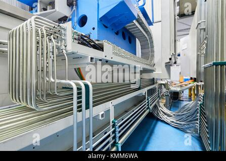Pressure Pipes, Machining Centre. CNC. Horizontal turning and Milling lathe. Design, manufacture and installation - Stock Photo