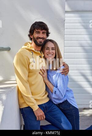 Couple, Place de la Mairie, Guethary, Aquitaine, Pyrenees Atlantiques, Basque Country, France, Europe - Stock Photo