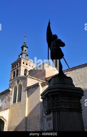 Plaza de Medina del Campo, with monument to Juan Bravo and San Martin church, Segovia, Castilla-Leon, Spain - Stock Photo