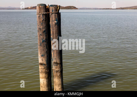 Italy: detail of a mooring of Lake Trasimeno - Stock Photo