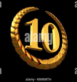 Anniversary Golden Laurel Wreath And Numeral 10 On Black Background - Stock Photo