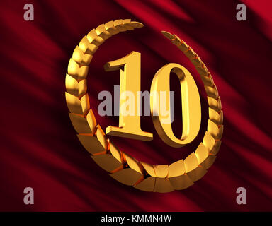 Anniversary Golden Laurel Wreath And Numeral 10 On Red Flag - Stock Photo