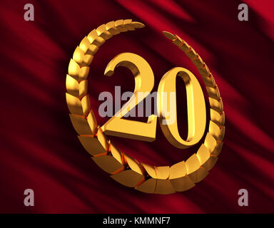 Anniversary Golden Laurel Wreath And Numeral 20 On Red Flag - Stock Photo