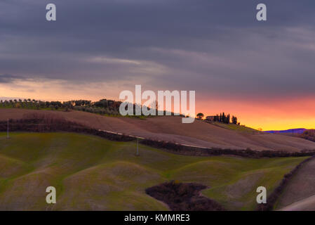 Idyllic and colorful tuscan countryside in autumn - Stock Photo