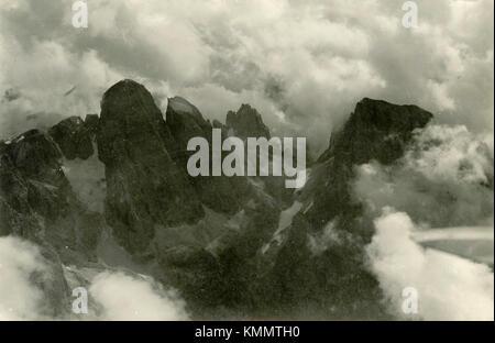 Aerial view of mountain Cimon della Pala Cima Vezzana, Alps, 1920 - Stock Photo