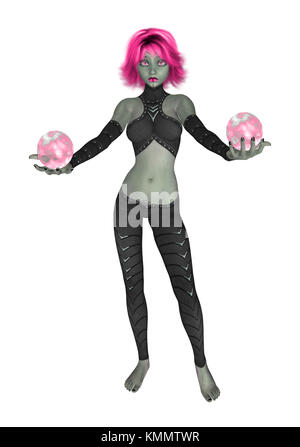 Pink goth girl dressed in black holding two crystall balls - Stock Photo