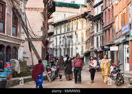 Street scenes in the UNESCO World Heritage Site of Bhaktapur, Nepal - Stock Photo