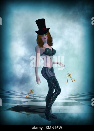 Woman wearing a top hat holding keys - Stock Photo