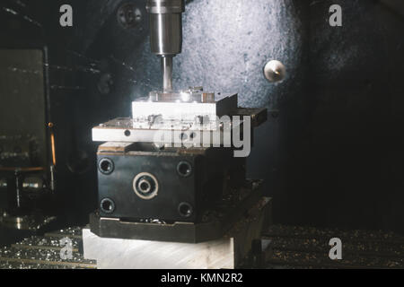 Process of metal working and machine manufacturing - automotive drilling - Stock Photo