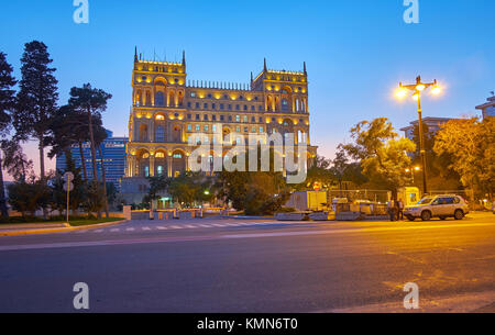 BAKU, AZERBAIJAN - OCTOBER 9, 2017: Beautiful Government House of Baku located in the middle of small garden, on - Stock Photo