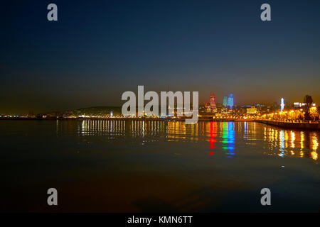 Embankment of Caspian Sea is the main landmark of the city, its the best place to overview beautiful illumination - Stock Photo