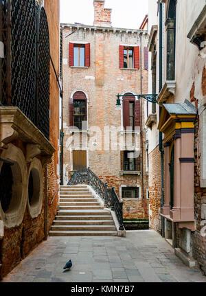VENICE-MARCH 8:Venice street and bridge,Venice,Italy,on March 8,2017. - Stock Photo