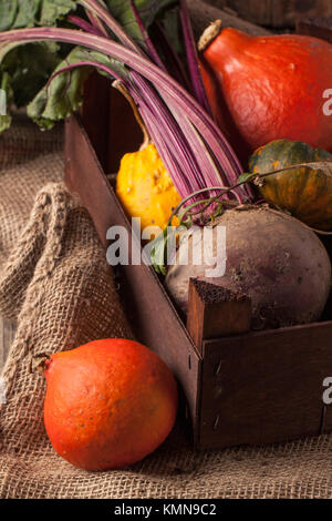 Colorful pumpkins and fresh beet in box on sackcloth - Stock Photo