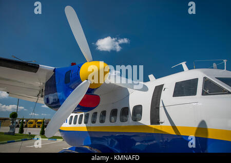airplane propeller side view with clear blue sky - Stock Photo