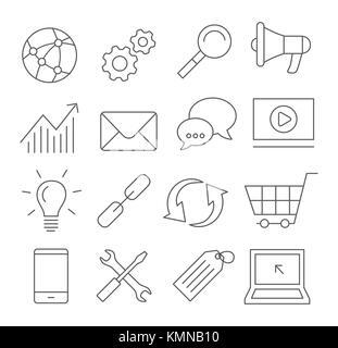 SEO Line Icons - Stock Photo