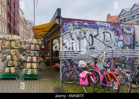 Bloemenmarkt (Amsterdam Flower Market) founded in 1862 the world's only floating flower market, Singel, Amsterdam, - Stock Photo