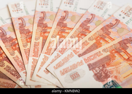Background of five-thousandth banknotes Russian rubles - Stock Photo