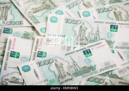 Background of one-thousandth banknotes Russian rubles - Stock Photo