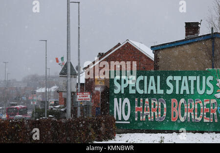 A Sinn Fein billboard calling for 'No Hard Border' on display in Belfast, Northern Ireland, as the European Commission - Stock Photo