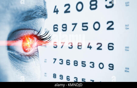 Eye test and red laser ray - Stock Photo