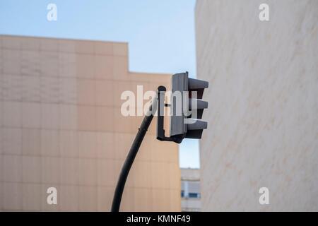 Semaphore and building, Valencia, Spain - Stock Photo