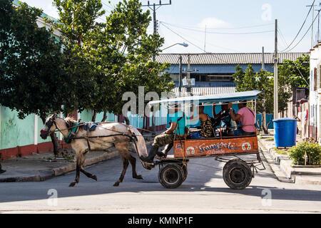 Horse carriage taxi in Cienfuegos, Cuba - Stock Photo