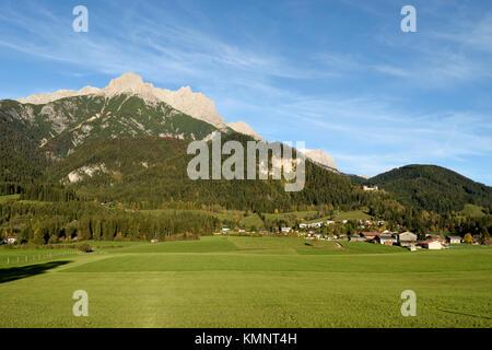 Persailhorn and Breithorn, 2  peaks at Steinernes Meer mountain range, above Bachwinkl near Saalfen, Pinzgau, Austria - Stock Photo