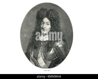 Louis XIV of France,  the Sun King (1638-1715), reigned 1643-1715 - Stock Photo