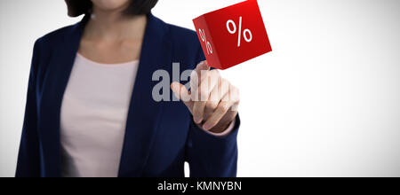 Mid section of businesswoman touching invisible screen against vector icon of percentage symbol - Stock Photo