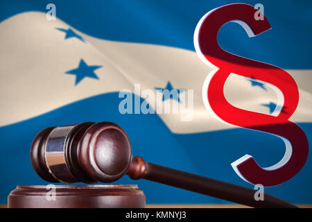 Vector icon of section symbol against digitally generated honduran national flag - Stock Photo