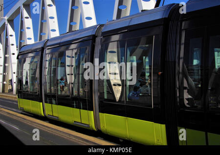 Modern bridge and transport in the city of Brest, France - Stock Photo