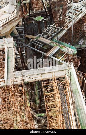 Construction detail in Sagrada Familia by architect Antoni Gaudi. Barcelona. Spain - Stock Photo