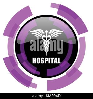 Hospital pink violet modern design vector web and smartphone icon. Round button in eps 10 isolated on white background. - Stock Photo