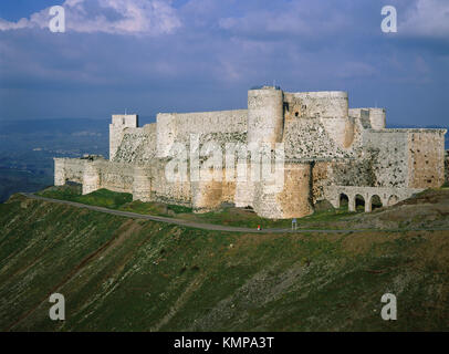 Krak des Chevaliers (Castle of the Knights). Qalaat al Hosn. Syria - Stock Photo