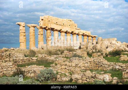 Ancient ruins of the Valley of temples in agrigento, Sicily, a unesco world heritage site in Italy - Stock Photo