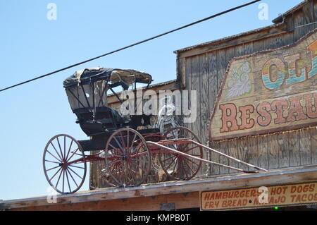 Old Horse Carriage At A Oatman Hotel On Route 66. June 21, 2017. Oatman, Arizona, USA, EEUU. - Stock Photo