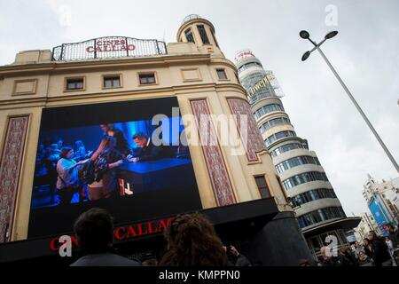 Madrid, Spain. 09th Dec, 2017. Spanish singer and composer Alejandro Sanz (on the screen) in the facade of Callao - Stock Photo