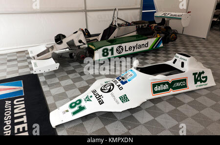 Side view of the 1980 F1 World Championship Winning, Williams FW07 Formula One Car, driven by Alan Jones, on display - Stock Photo