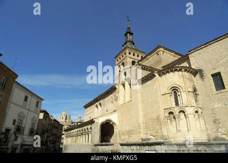 Romanesque Church of San Martín (10th - 12th cent.) with mudejar tower. Segovia (city added to Unesco´s World Heritage - Stock Photo
